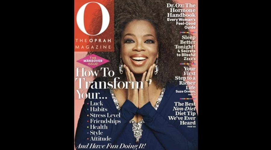 """Oprah Winfrey posou para a capa da edição da revista """"O"""" usando penteado black power (1/8/12)"""
