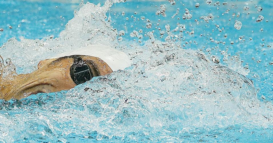 Phelps liderou boa parte da sua bateria dos 200 m medley e terminou em segundo lugar com o tempo de 1min58s24