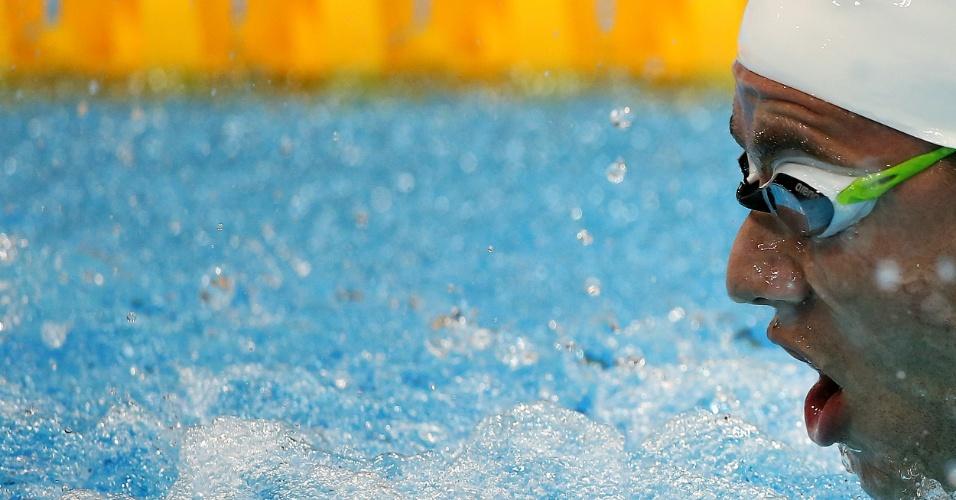 Thiago Pereira nada a segunda série da semifinal dos 200 m medley nos Jogos de Londres