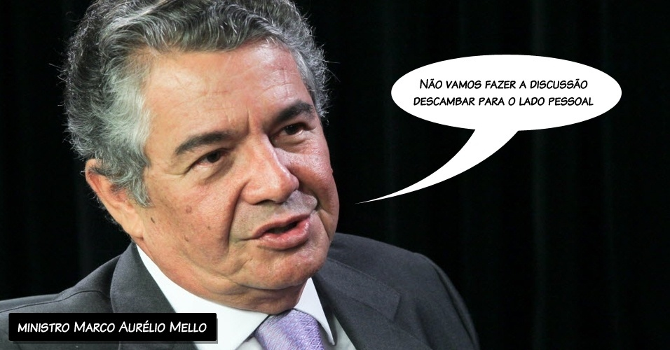 """2.ago.2012 - """"Não vamos fazer a discussão descambar para o lado pessoal"""", disse o ministro Marco Aurélio Mello durante discussão entre Joaquim Barbosa e  Ricardo Lewandowski"""