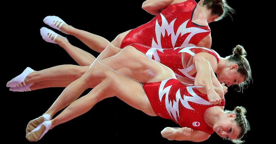Canadense Rosannagh Maclennan em destaque durante aquecimento para a prova de salto ornamental (02/08/2012)