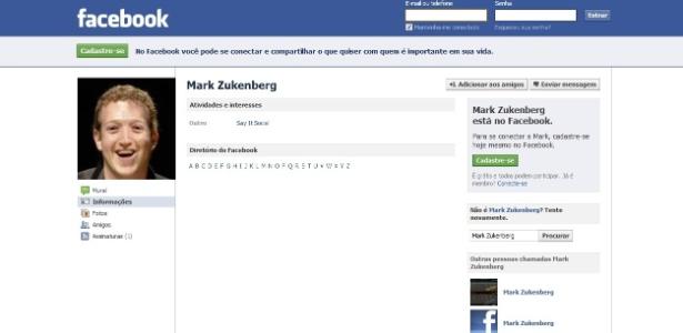 """Mark Zuckerberg também tem o perfil """"duplicado"""" na rede social - Reprodução"""