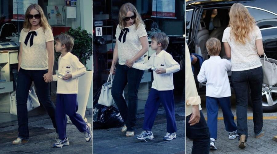 Grávida, Angélica passeia com o filho mais velho, Joaquim, no Rio
