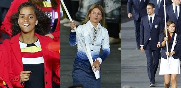 """Tendências de moda nas Olímpiadas: gola """"bebê"""" da Bélgica, """"ombré"""" de El Salvador e costume ajustado de Mônaco - Reuters/AFP/Retuers"""