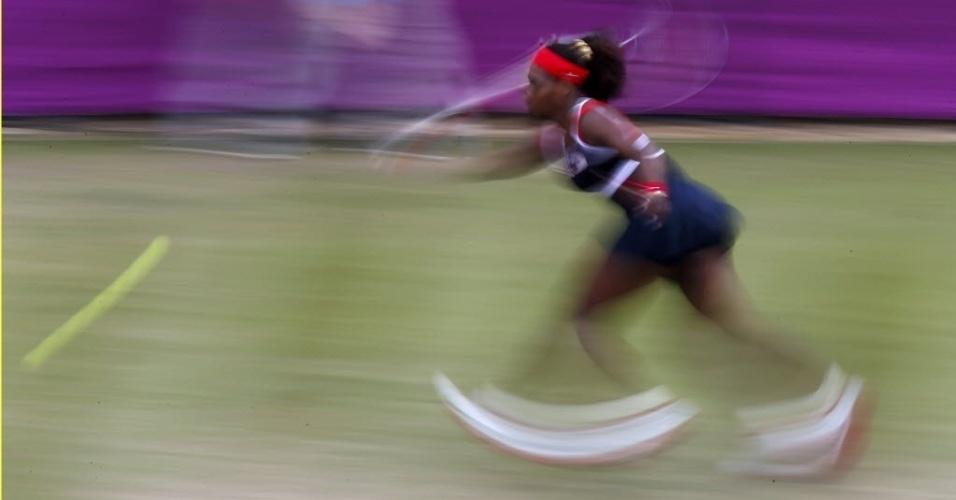 Tenista americana Serena Williams durante jogo contra a dinamarquesa Caroline Wozniacki