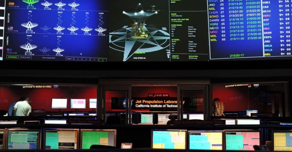 02.ago.2012 - Engenheiros do Laboratório de Propulsão a Jato da Nasa, na Califórnia, trabalham nos preparativos para o pouso do robô de exploração em Marte