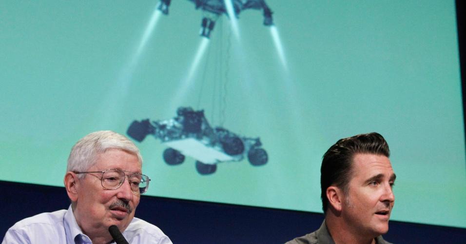 02.ago.2012 - Equipe da Nasa explica como será a operação de pouso do robô em Marte, uma missão bastante arriscada