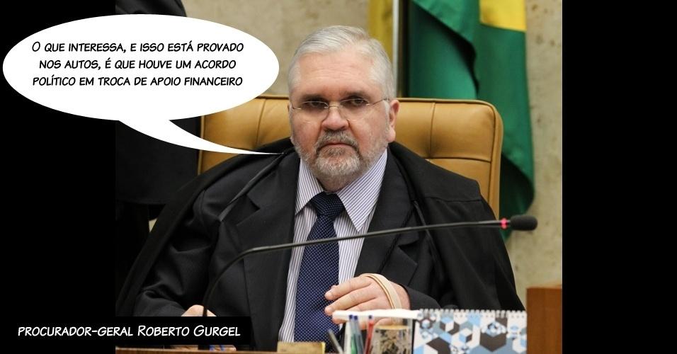 """3.ago.2012 - """"O que interessa, e isso está provado nos autos, é que houve um acordo político em troca de apoio financeiro"""", resumiu o procurador-geral, Roberto Gurgel, ao ler a acusação contra os réus"""