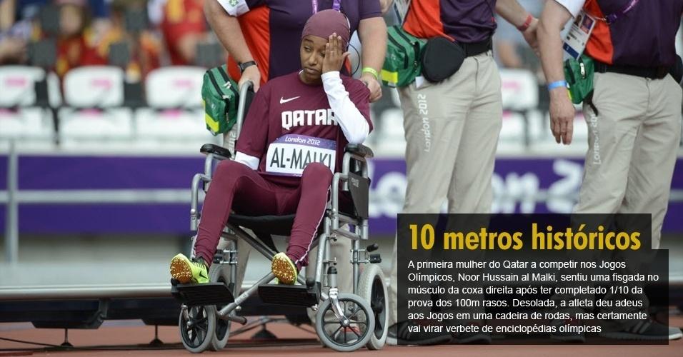 A primeira mulher do Qatar a competir nos Jogos Olímpicos, Noor Hussain al Malki, sentiu uma fisgada no músculo da coxa direita após ter completado 1/10 da prova dos 100m rasos. Desolada, a atleta deu adeus aos Jogos em uma cadeira de rodas, mas certamente vai virar verbete de enciclopédias olímpicas