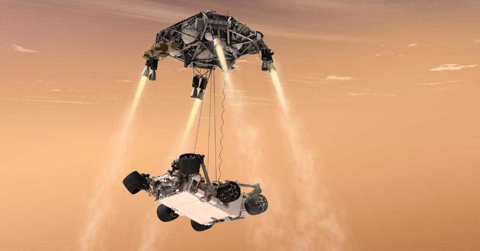 Concepção artística mostra a chegada do robô Curiosity em Marte