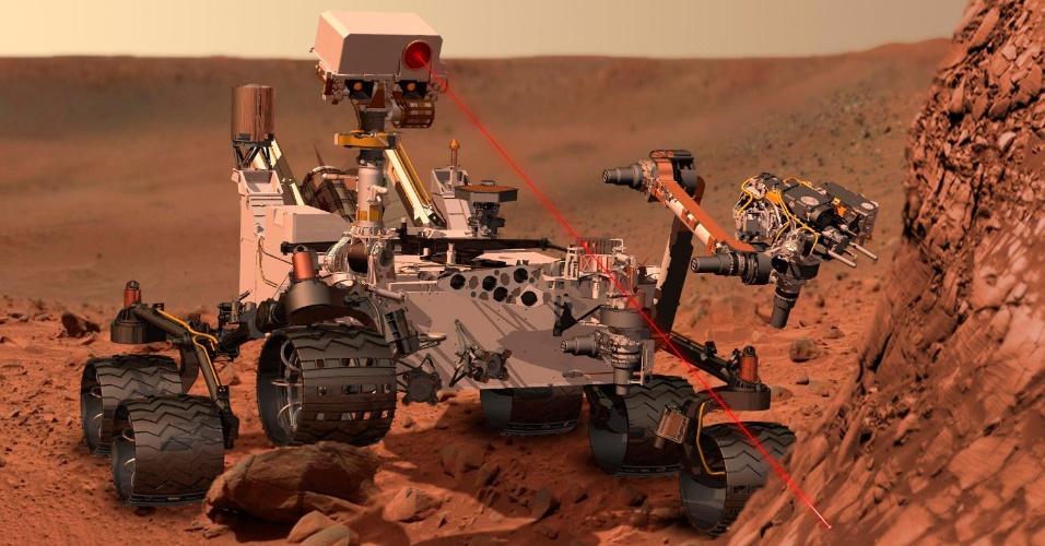Concepção artística mostra como o robô Curiosity vai atuar em Marte