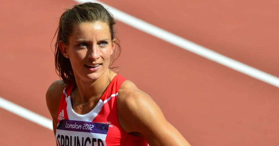 Ellen Sprunger, atleta da Suíça, após prova dos 100 m na competição de heptatlo feminino