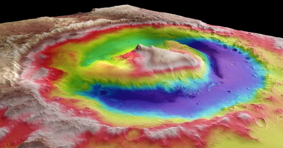 Imagem obtida com dados da sonda europeia Mars Express mostra com cores e relevo o local previsto para o pouso do Curiosity