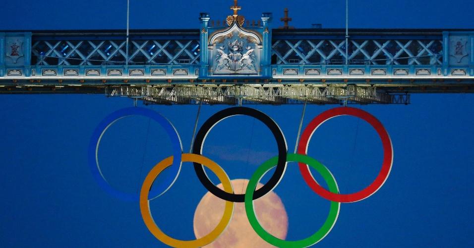 Lua cheia nasce atrás dos aneis olímpicos pendurados no topo da Torre de Londres