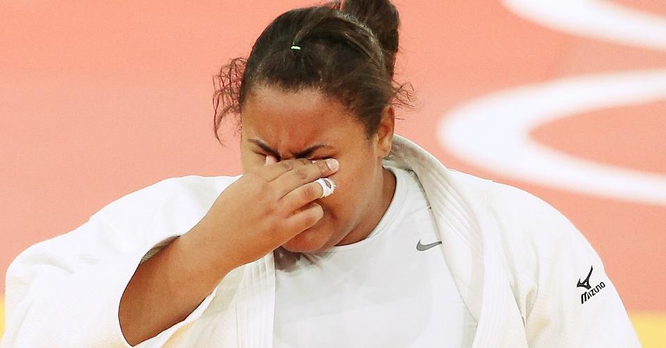 Maria Suelen Altheman lamenta a derrota na disputa pela medalha de bronze, ao sofrer ippon na categoria acima de 78 kg