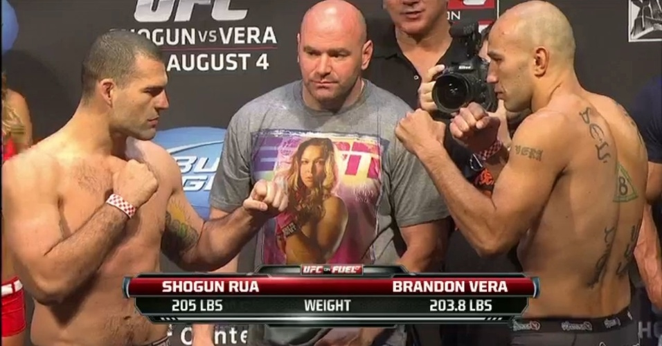 Maurício Shogun e Brandon Vera dão a 'encarada' na pesagem do UFC on FOX 4