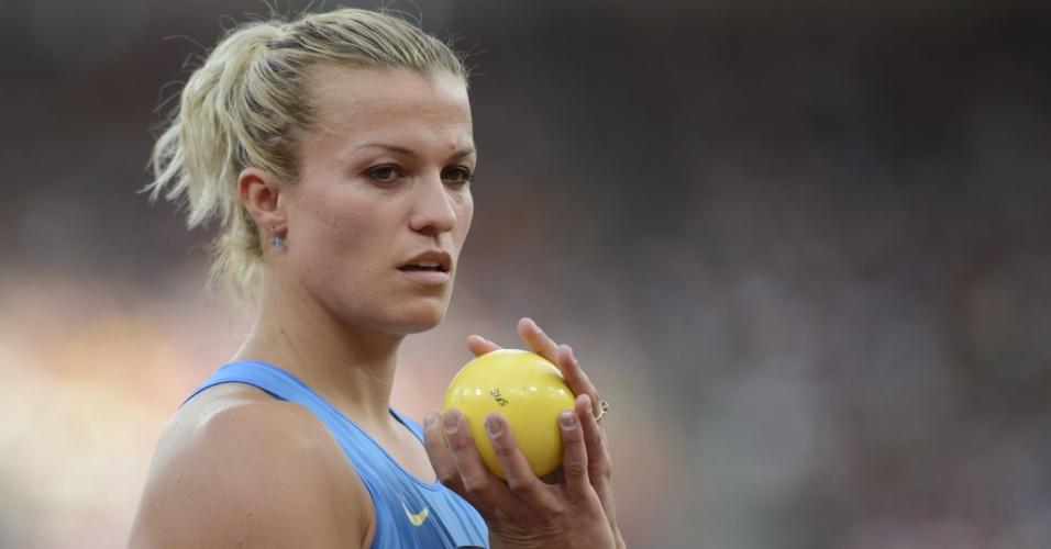 Natallia Dobrynska , atleta da Ucrânia, durante competição do heptatlo feminino em Londres