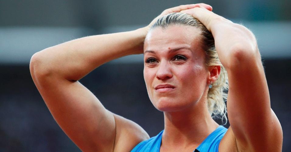 Natallia Dobrynska, atleta da Ucrânia, durante competição do heptatlo feminino