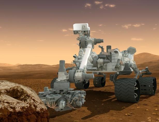 O robô de exploração Curiosity. o maior artefato e o mais sofisticado já enviado a outro planeta