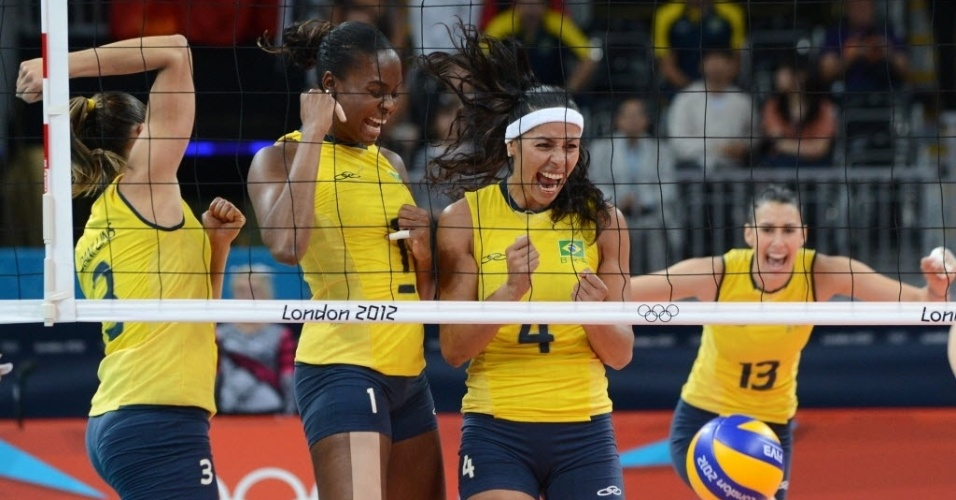 Paula Pequeno (nº 4) vibra muito após ponto do Brasil contra as chinesas