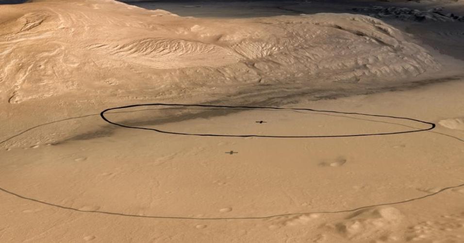 Região da cratera de Gale (na imagem), no monte Sharp (com 5.000 metros), em Marte