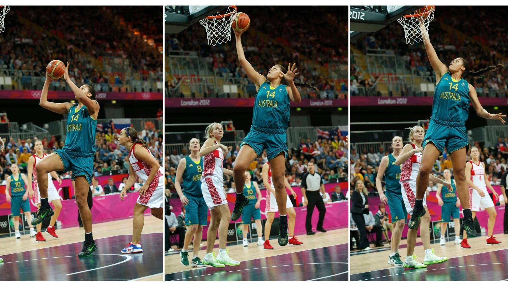 Sequência de fotos mostra enterrada de Liz Cambage, da Austrália, que surpreendeu no basquete feminino