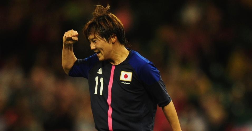 Shinobu Ohno comemora segundo gol japonês contra seleção brasileira