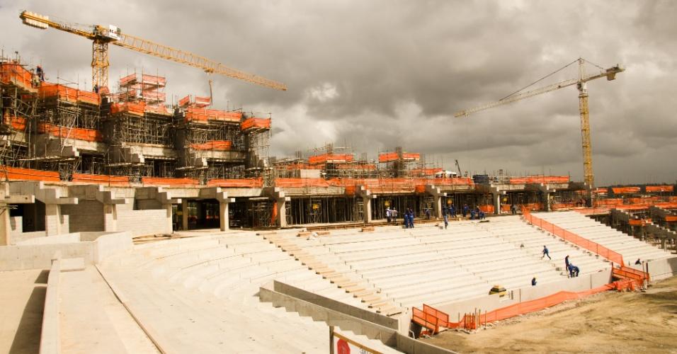 A Arena Pernambuco atingiu, no fim de junho de 2012, 48,6% de conclusão