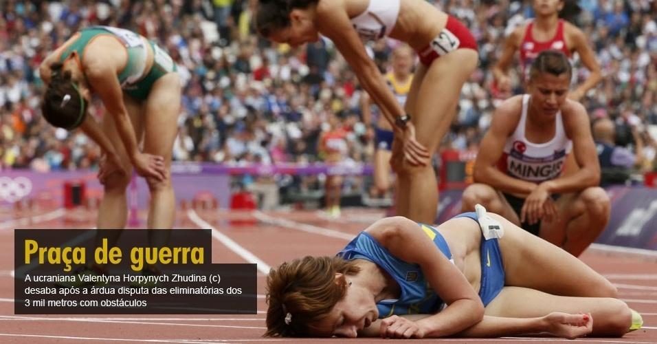A ucraniana Valentyna Horpynych Zhudina (c) desaba após a árdua disputa das eliminatórias dos 3 mil metros com obstáculos