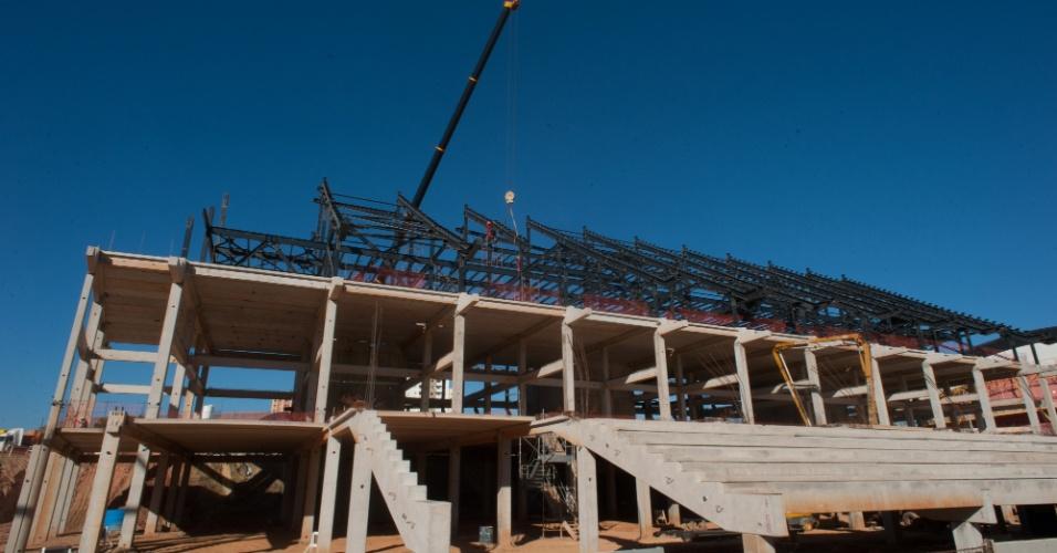 As obras da Arena Pantanal (Cuiabá), sede de quatro partidas da Copa do Mundo de 2014, atingiram 46% de conclusão em julho de 2012