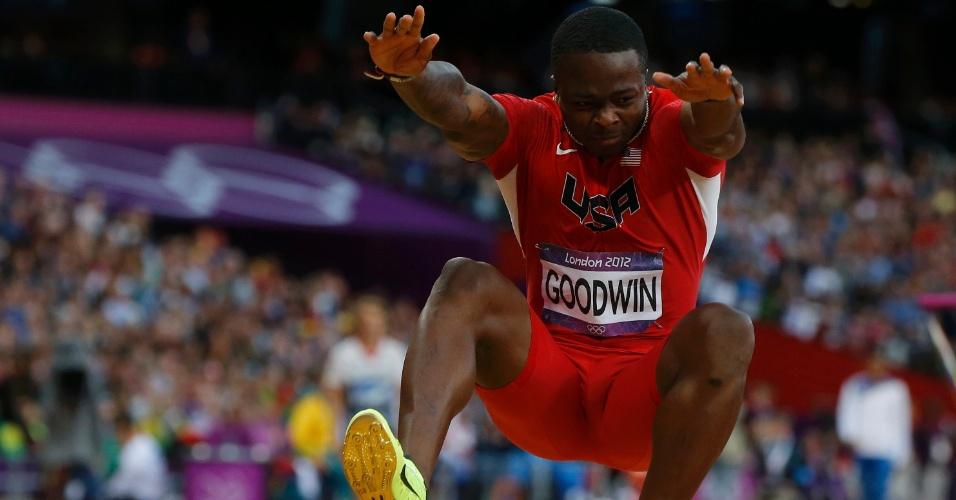 Atleta norte-americano Marquise Goodwin durante prova final de salto em distância
