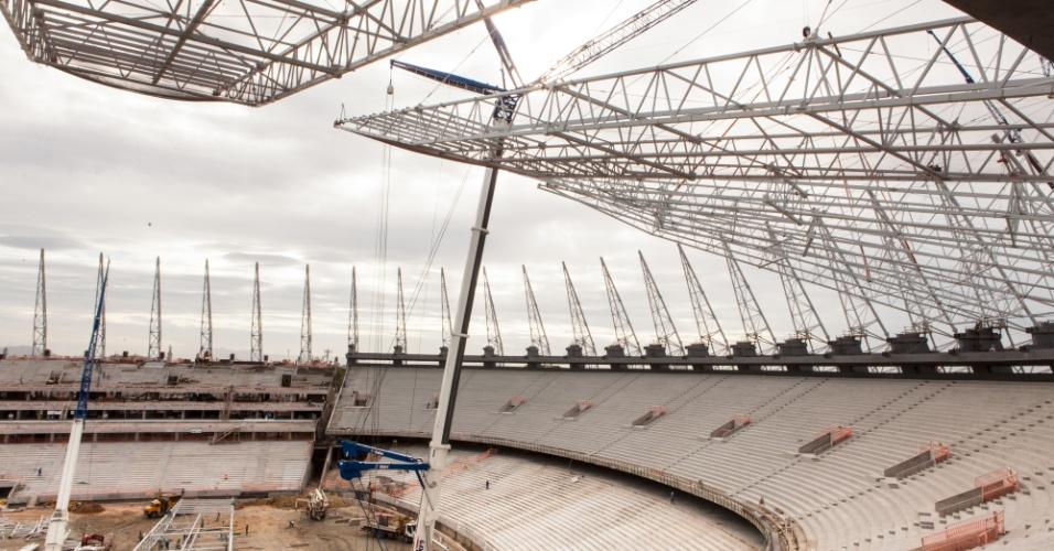 O estádio Castelão, em Fortaleza (CE), terminou julho de 2012 com 83% do projeto finalizado