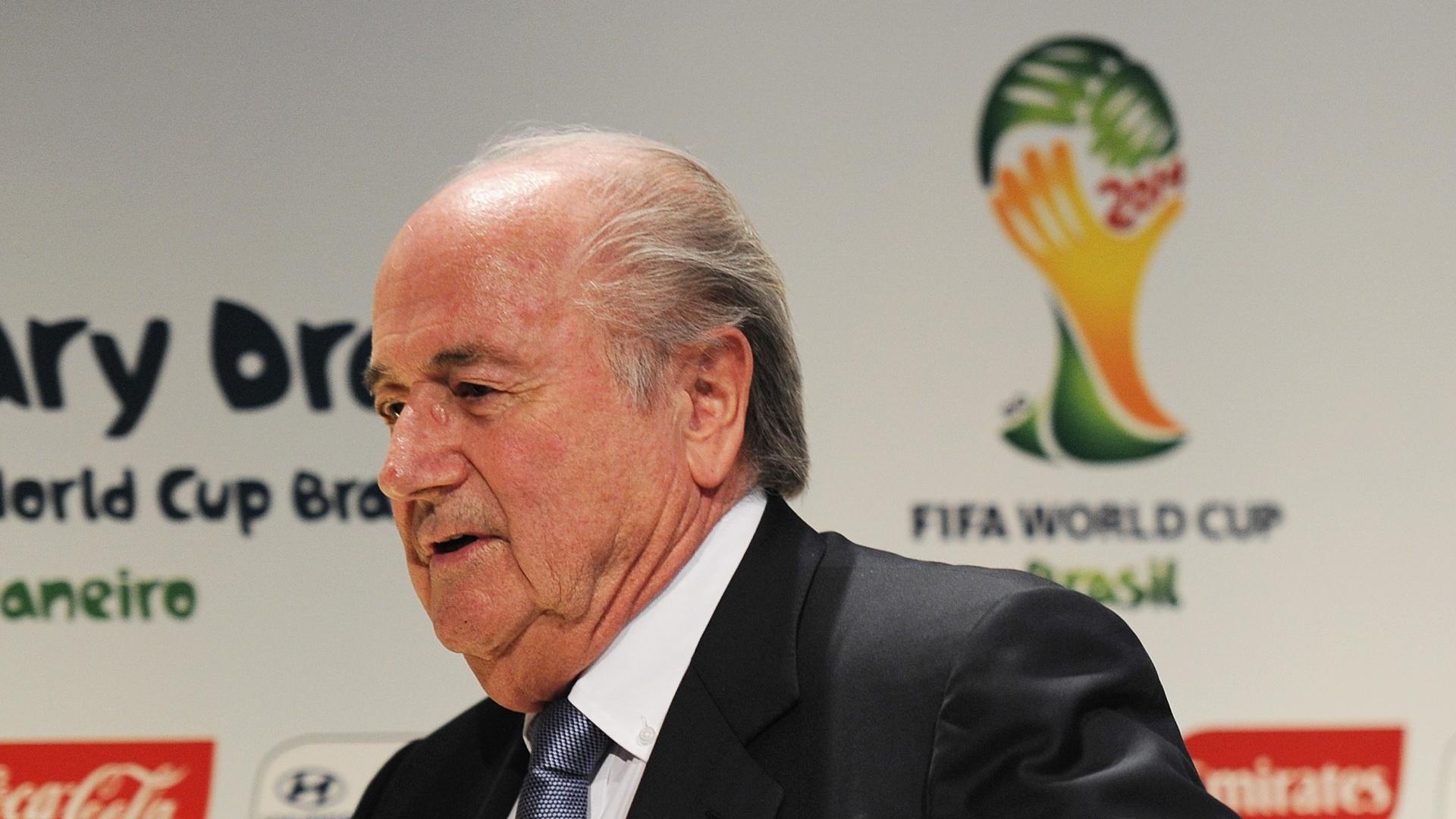 Joseph Blatter, presidente da Fifa, em evento da Copa do Mundo de 2014