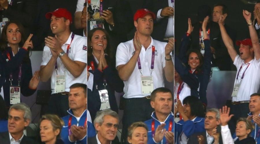 Príncipe William e a duquesa de Cambridge Catherine Middleton estiveram no estádio olímpico de Londres, Inglaterra (4/8/12). O casal ajudou a animar os atletas no oitavo dia dos Jogos Olímpicos 2012