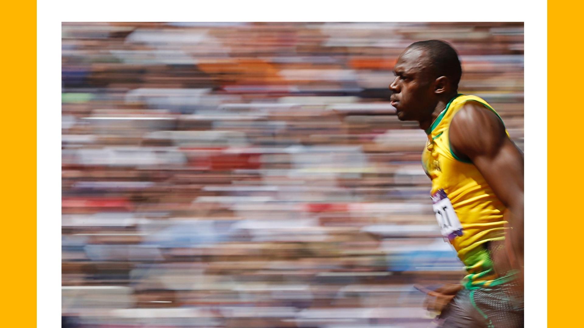 Usain Bolt em ação nas Olimpíadas de Londres