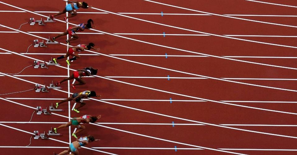 Vista de cima da largada da proca semifinal dos 100 m feminino no Estádio Olímpico de Londres