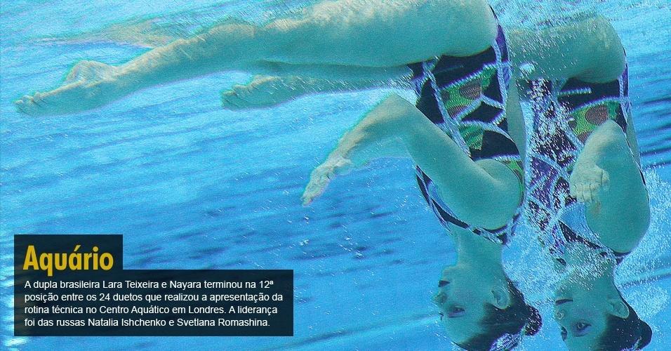 A dupla brasileira Lara Teixeira e Nayara terminou na 12ª posição entre os 24 duetos que realizou a apresentação da rotina técnica no Centro Aquático em Londres. A liderança foi das russas Natalia Ishchenko e Svetlana Romashina.