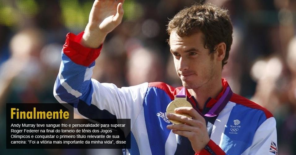 """Andy Murray teve sangue frio e personalidade para superar Roger Federer na final do torneio de tênis dos Jogos Olímpicos e conquistar o primeiro título relevante de sua carreira: """"Foi a vitória mais importante da minha vida"""", disse"""