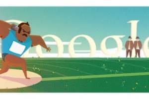 Arremesso de peso é representado no logotipo do Google