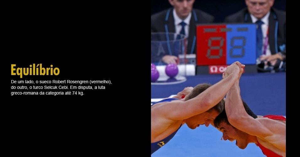 De um lado, o sueco Robert Rosengren (vermelho), do outro, o turco Selcuk Cebi. Em disputa, a luta greco-romana da categoria até 74 kg.