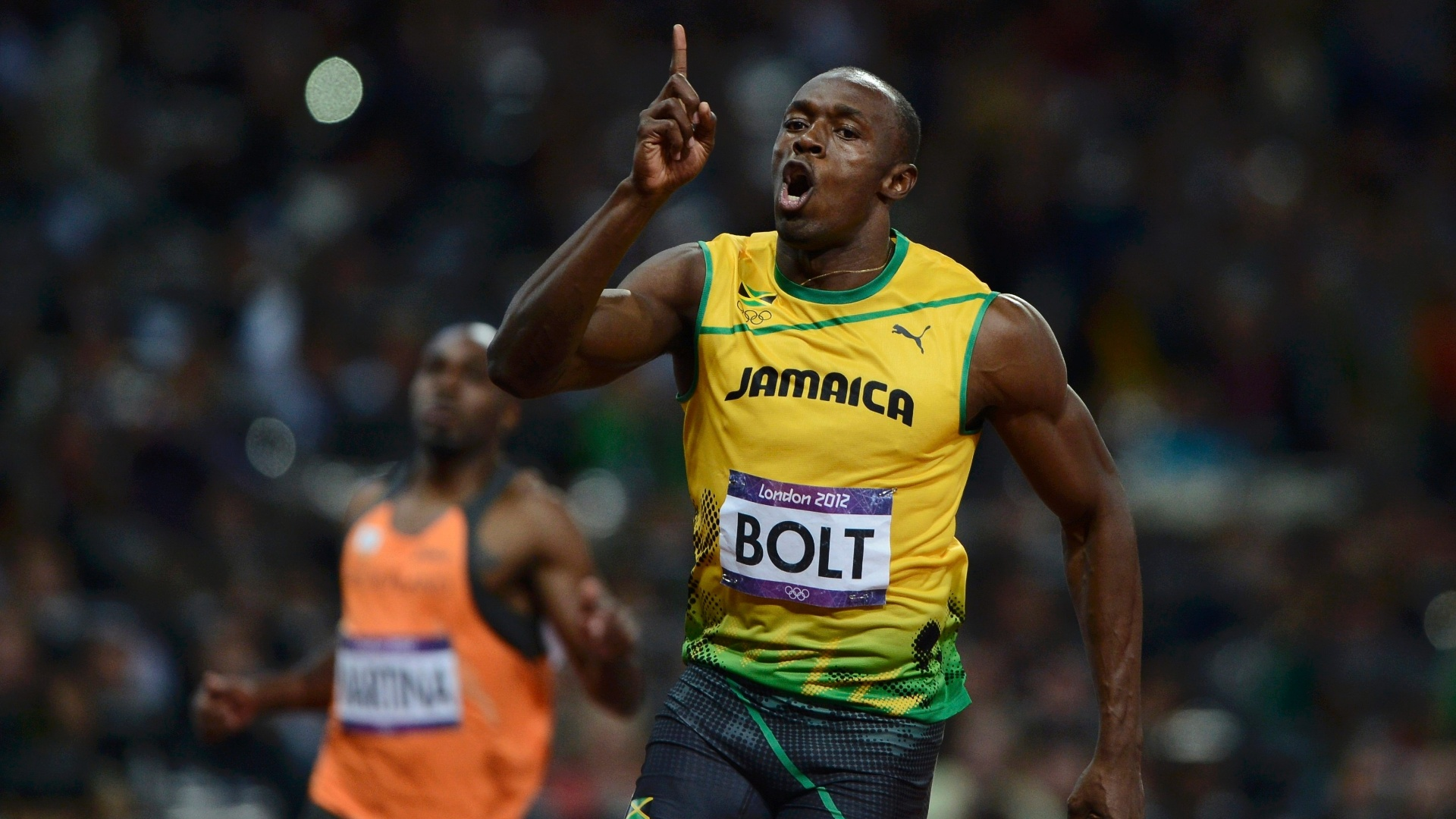 Jamaicano Usain Bolt comemora vitória na final dos 100 m rasos dos Jogos Olímpicos de Londres