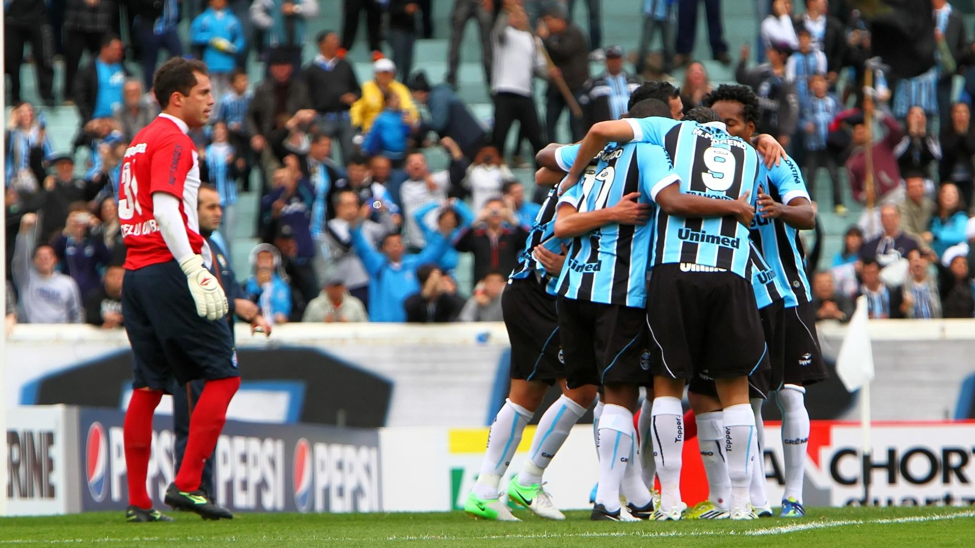 Jogadores do Grêmio comemoram sob a observação de Marcelo Lomba