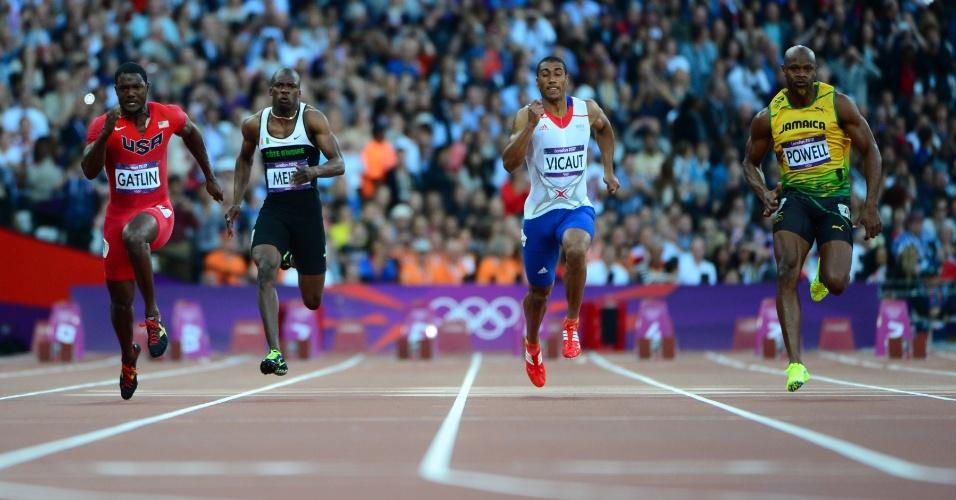 Justin Gatlin (Estados Unidos), Ben Youssef Meite (Costa do Marfim), Jimmy Vicaut (França) e Asafa Powell (Jamaica) competem em semifinal dos 100 m