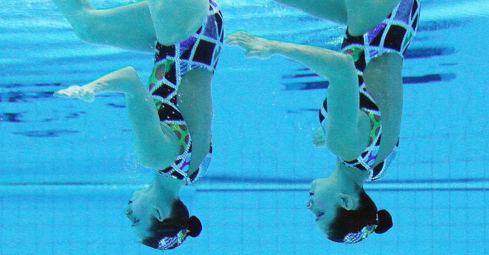 Lara e Nayara terminaram na 12ª posição no primeiro dia de disputas do nado sincronizado em Londres