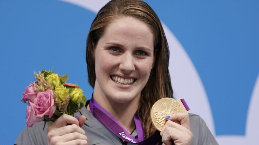 Missy Franklin comemora o ouro e o recorde mundial nos 200 m costas em Londres - REUTERS/Jorge Silva