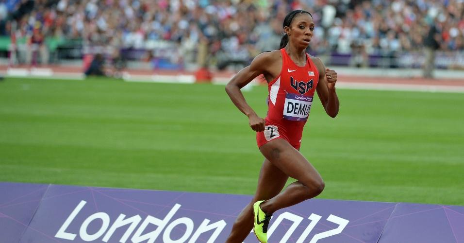 Norte-americana Lashinda Demus compete durante série dos 400 m com barreira