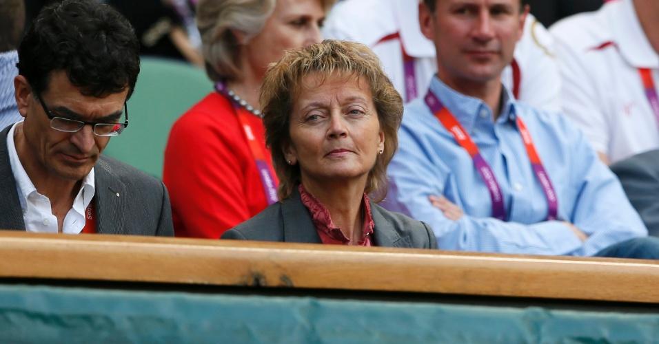 Presidente da Suíça Eveline Widmer-Schlumpf comparece a Wimbledon para a final masculina do tênis olímpico