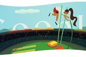 Salto com vara é representado no logotipo do Google