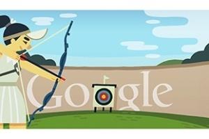 Tiro com arco é representado no logotipo do Google