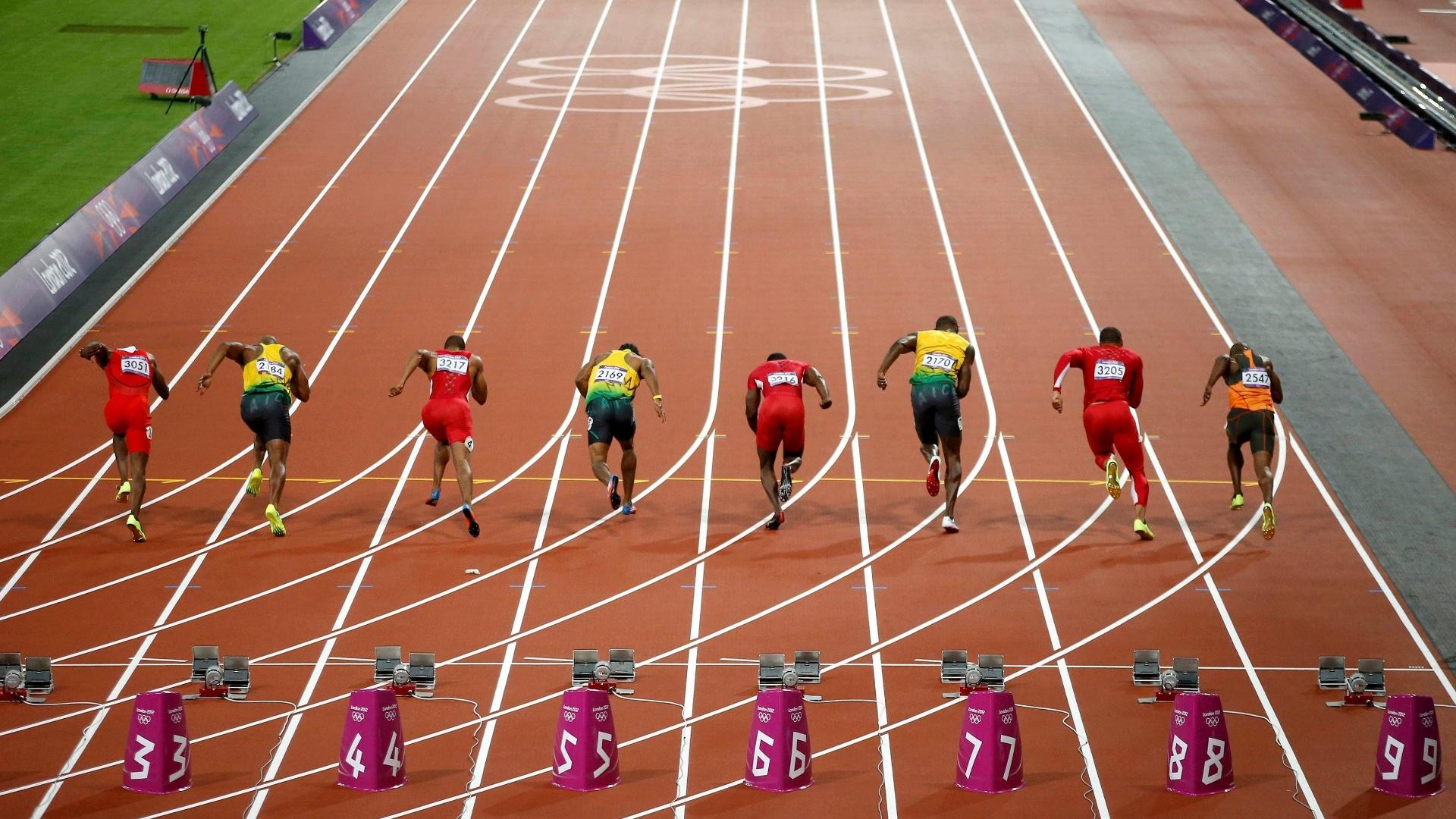 Usain Bolt disputa final dos 100 m rasos dos Jogos Olímpicos de Londres